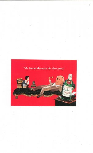 Tanqueray Dry Gin Postcard Advertising 1996 Mr Jenkins Olive Envy