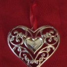 Lenox Heart Ornament Silver Plate Sparkle And Scroll