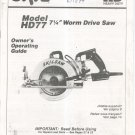 Skil Model HD77 Worm Drive Saw Owners Manual With Parts List Not PDF