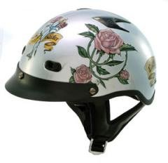 DOT Ladies Motorcycle Vented Silver Half Helmet Motorcycle