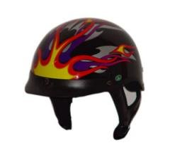 DOT Fire Flame Half Helmet Motorcycle