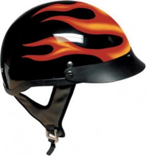 DOT Flame Half Helmet Motorcycle