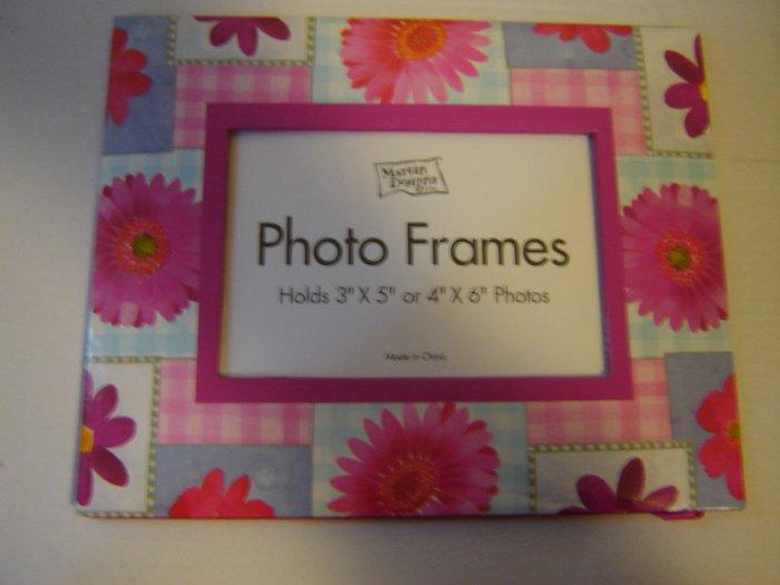 photo frame pink gingham patchwork flower fiberboard easel back picture frame