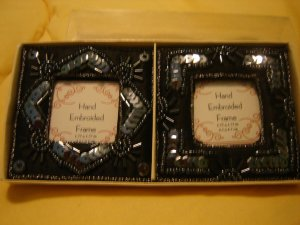 hand embroidered mini picture frames set of 2 black satin beads & sequins BRAND NEW in box