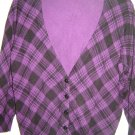 Delia's plaid cardigan sweater junior size L purple black 3/4 sleeves NEW no tag