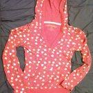 heart print Energie hooded top long sleeve dark pink junior size M kangaroo pocket cotton