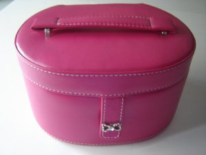 portable jewelry box dark pink oval divided organizer compartments mirror inside