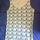 Roxy heart print tank top size medium sleeveless white green blue hearts LIKE NEW