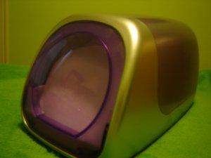 cd desktop storage case holder purple silver one-touch glide holds 60 cds dvds games