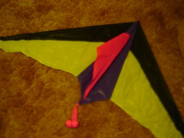 """bright neon Premier kite yellow pink purple 54"""" span 12 ft tail with streamers nylon"""