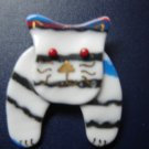 striped cat pin handmade fused glass hand painted detail whimsical jewelry