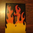 flame switch plate cover hand painted for single light switch black orange yellow flames wood