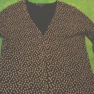 AK Anne Klein cardigan sweater ladies small black with tan dots designer brand long sleeve LIKE NEW
