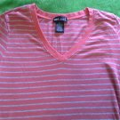 striped knit tee shirt Wet Seal v neck size M orange gray cotton spandex short sleeve