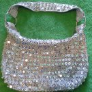 Posh silver sequin handbag purse short handle