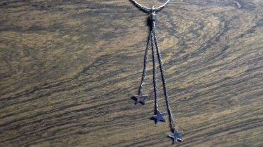 star necklace pendant 16 inch shiny silvertone cobra chain like new