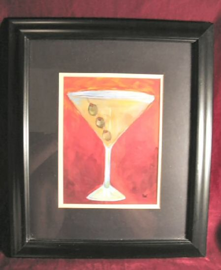 Martini Glass Olives Art Print Black Frame Signed Chui