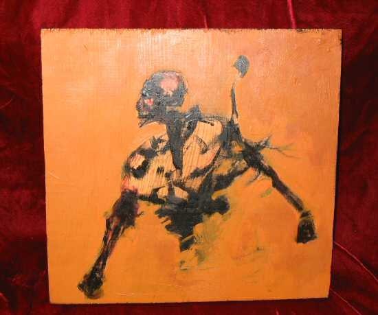 Original Abstract Oil Painting on Wood Skeleton Skull Beast Nyugen E. Smith