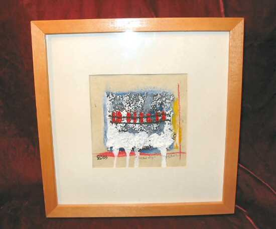 Framed Mixed Media Signed Print Abstract Tracks Nyugen E. Smith