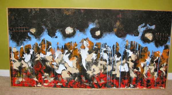 Mixed Media NYC Fire Smoke Abstract Art Nyugen E. Smith