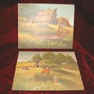 2 Chic Vintage Print Shabby Country Farm Red Barn