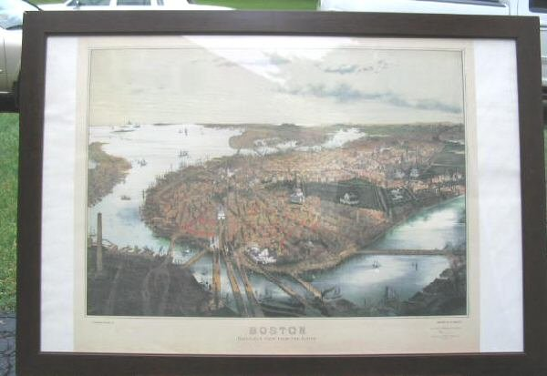 Boston Panoramic Map 39x27 Bird's Eye View Framed Poster Art Print 1877