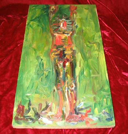 Original Abstract Oil Painting on Anitque Wood Human Nyugen E. Smith