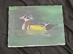 Original Oil painting Duck Swimming Signed Scott Holmack