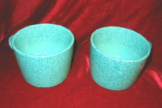 2 Retro Signature Stoneware Turquoise Ceramic Cups