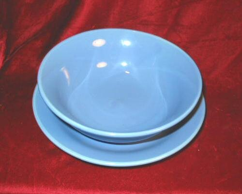 Baby Blue Salad Plate Soup Bowl Ceramic