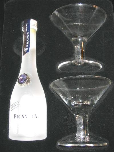 NIB Pravda Vodka Tasting Kit Bottle & 2 Martini Glasses