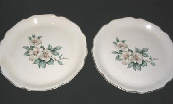 2 Vintage Sabin Dinner Plates SAB3 Warranted 22 K Dogwood