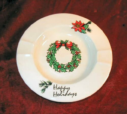 Vintage Happy Holidays Christmas Ashtray