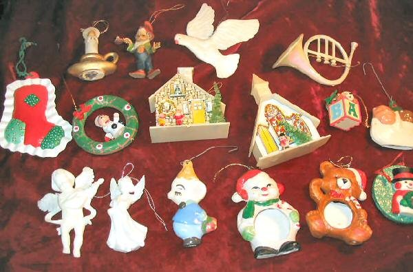 16 Vintage ChristmasTree Ornaments Hanging Porcelain