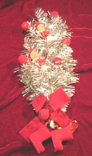 Silver Tinsel Christmas Decoration Wreath Tree Topper