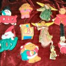 10 Vintage ChristmasTree  Fabric Ornaments Hanging