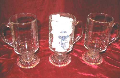 SPODE Christmas Snowmen Pattern 3 Clear Glass Beer Mugs