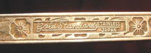"""Antique 6.5"""" ea Spoon Gold Standard Stainless Japan Night Blossom Pattern"""