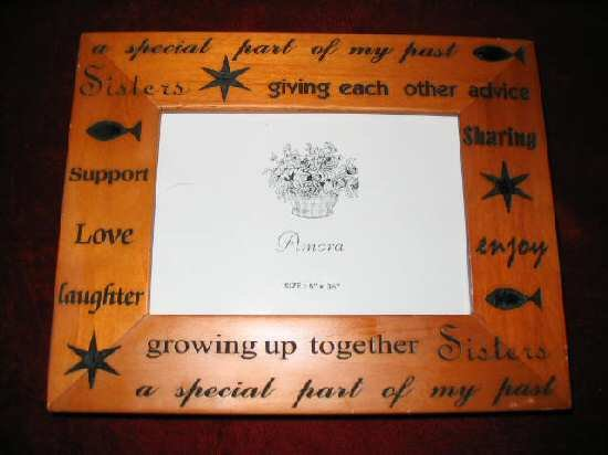 Pine Picture Frame Carved Inspirational Wooden Sisters