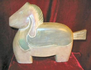 Wooden Hand Carved Painted Horse Statue Sculpture Signed