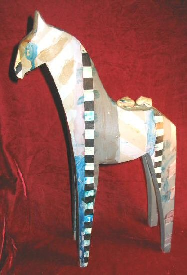Solid Wooden Hand Carved Painted Horse Giraffe Folk Art