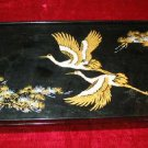 Nice Asian Black Jewelry Case Trinket Box Floral Orient