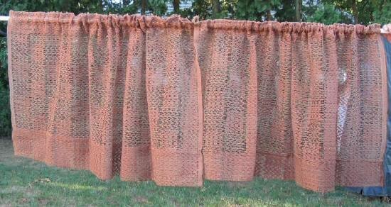 4pc Vintage Linen Fabric Curtains Drapes Lace Chic