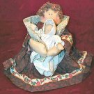 Adorable Shabby Hand Made Fabric Pair Of Doll Dolls