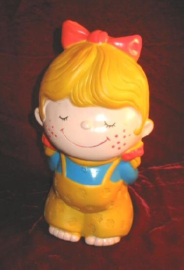 Vintage Doll Piggy Bank Bankers Systems Plastic
