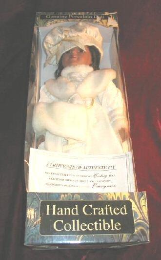 """NIB HCC Genuine Hand Crafted Porcelain 18"""""""" Doll"""