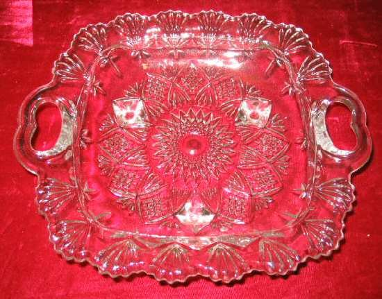 NIB Crystal Serving Dish Relish Tray w/Handles & Feet