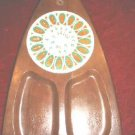 Vintage Fred Press Serv Wood Cheese Board Hand Carved