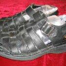 Mens SKECHERS Black Leather Sandals 7 Summer Shoes