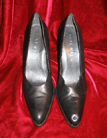 Womens Black Nine West Leather Shoes Pump 8.5 M